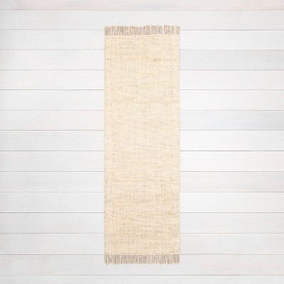 """2'4"""" x 7' Bleached Jute Runner with Fringe - Hearth & Hand™ with Magnolia"""