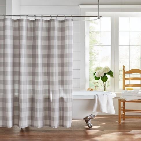 Farmhouse Living Buffalo Check Shower Curtain 72 X 72 Gray White Elrene Home Fashions Target