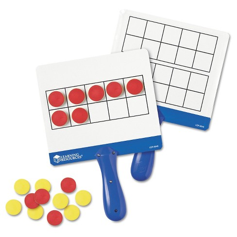 Learning Resources Magnetic Ten Frame Boards, 4 Blue/White Boards, 100 Red/Yellow Foam Counters - image 1 of 1