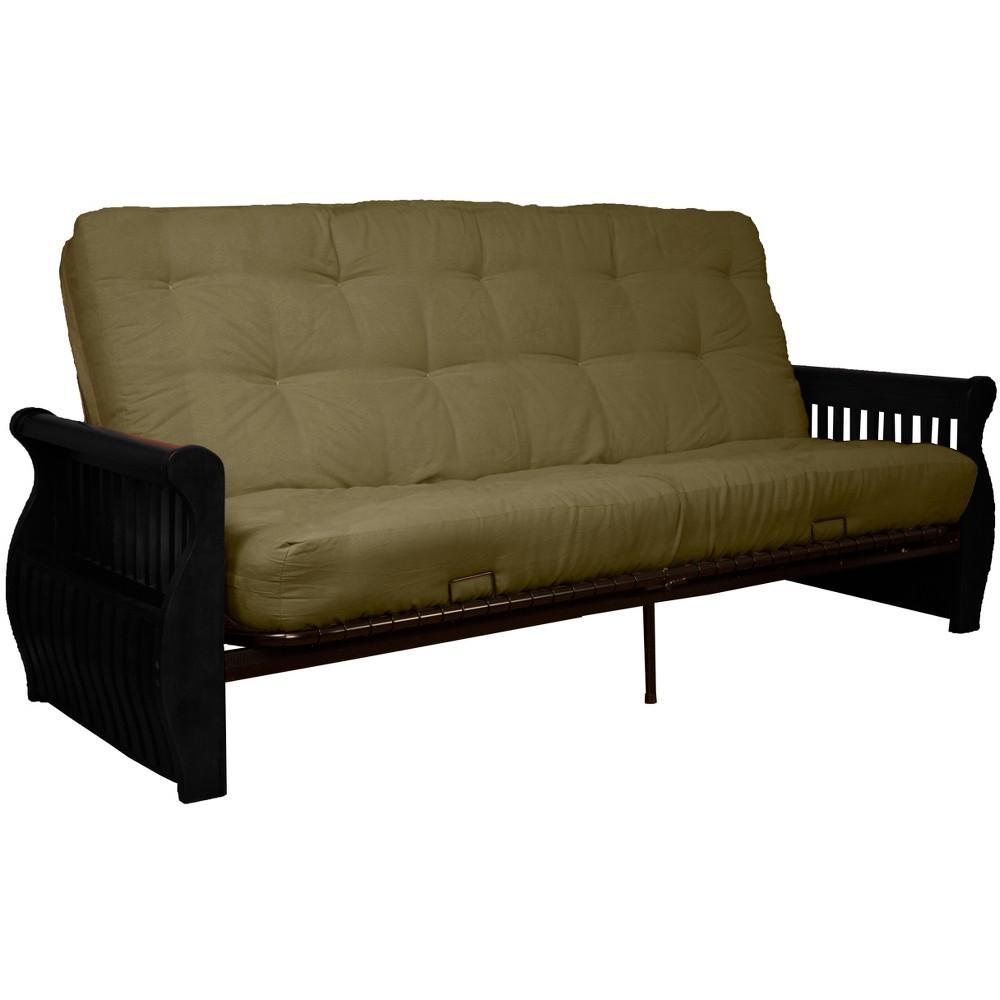Storage Arm 8 Cotton/Foam Futon Sofa Sleeper - Black Wood Finish - Epic Furnishings, Olive Green