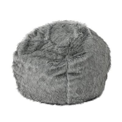 3  Leeson Faux Fur Bean Bag Dark Gray/Light Gray - Christopher Knight Home