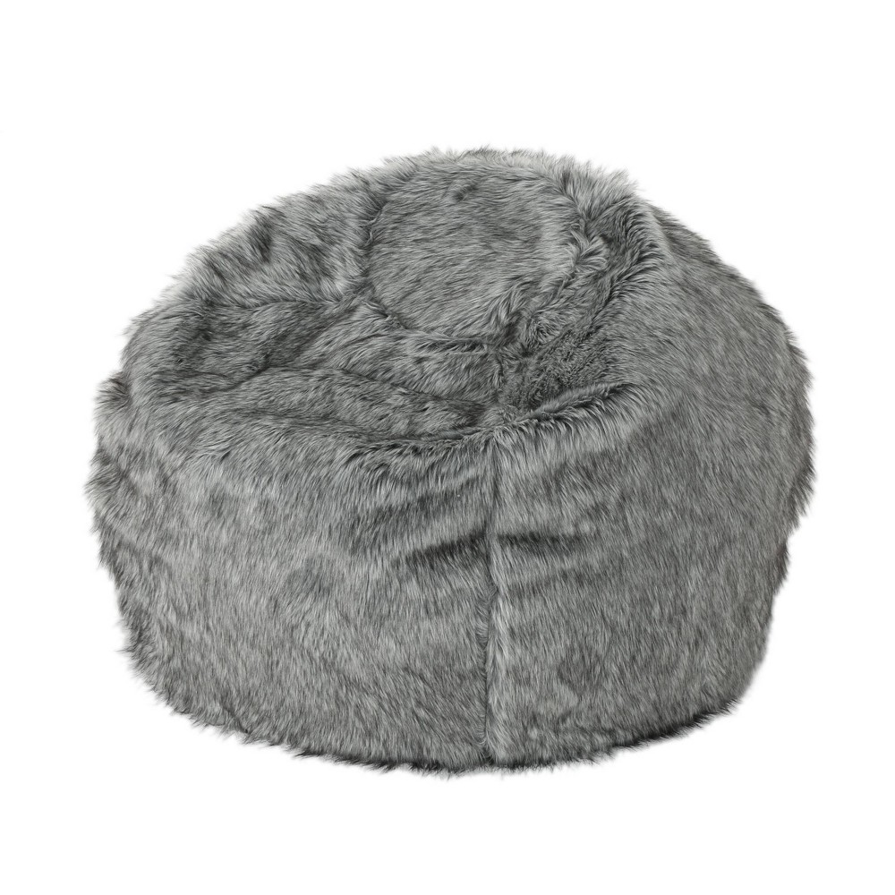 "Image of ""3"""" Leeson Faux Fur Bean Bag Dark Gray/Light Gray - Christopher Knight Home"""