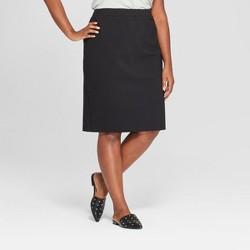 Women's Plus Size Ponte Midi Pencil Skirt - Ava & Viv™