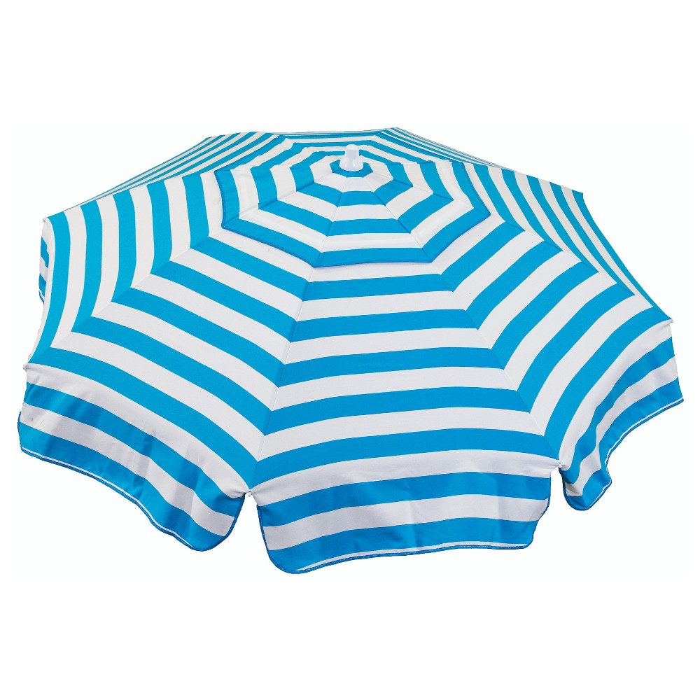 Image of 6' Beach Italian Umbrella Acrylic Stripes - Turquoise And White - Parasol, White Blue