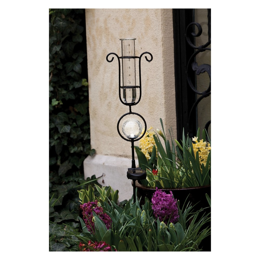 "Image of ""18.4"""" H Metal Rain Gauge - Evergreen"""