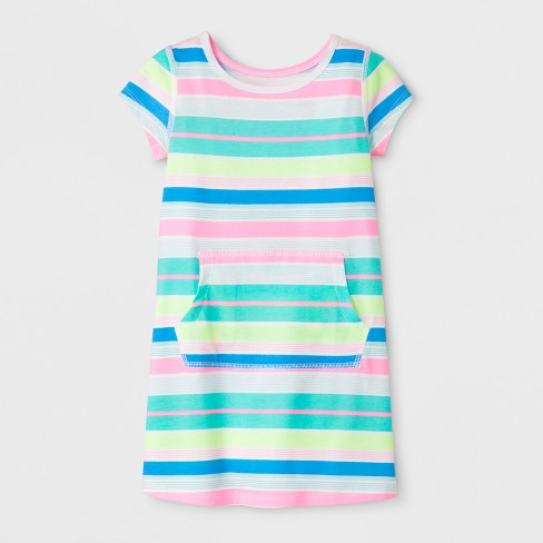 Toddler Girls' Adaptive Knit Stripe Dress - Cat & Jack™ Rainbow - image 1 of 2