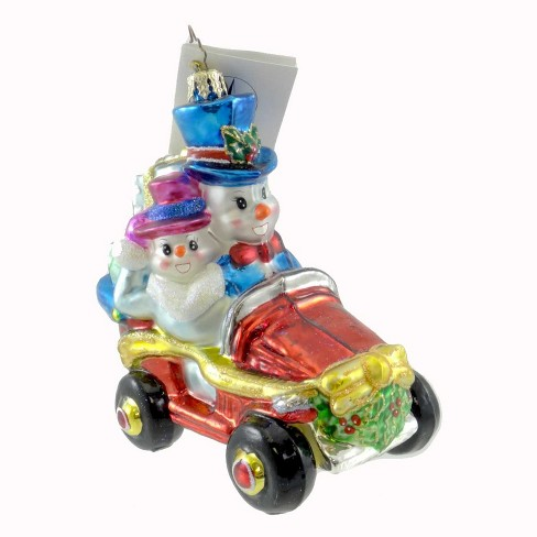 Christopher Radko Snowy Roadster Ornament Snowman Christmas - image 1 of 2