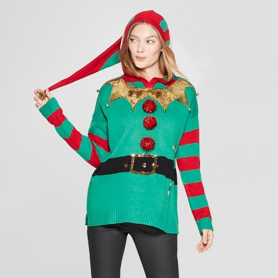 Womens Elf Ugly Sweater With Ears 33 Degrees Juniors Green S