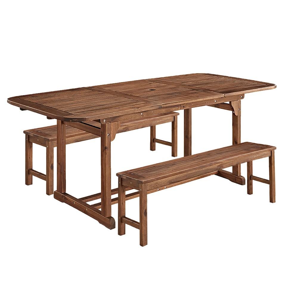 3pc Acacia Wood Patio Dining Set - Dark Brown - Saracina Home