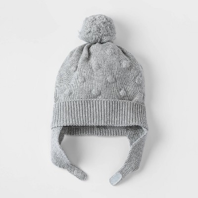 Baby Girls' Bobble Hat - Cat & Jack™ Gray 0-6M