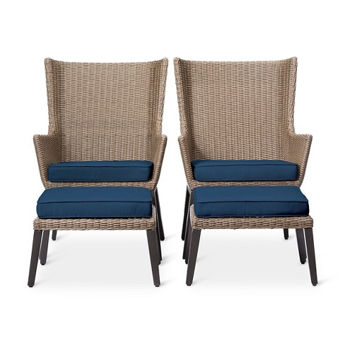 Ennismore 4pc All-Weather Wicker Outdoor Patio Conversation Seating Set - Navy - Threshold™ - image 1 of 6