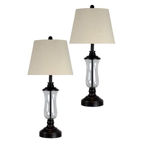 Dark Bronze Table Lamp Set With Clear Gl Beige Hardback Fabric Shade Only Stylecraft