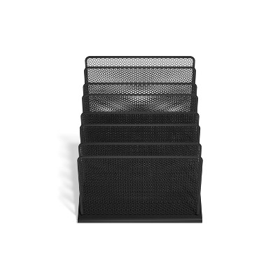 HITOUCH BUSINESS SERVICES 7 Compartment Wire Mesh File Organizer Matte Black TR57559-CC