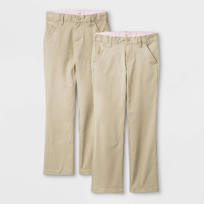 Girls' 2pk Flat Front Stretch Uniform Straight Pants - Cat & Jack™ Beige