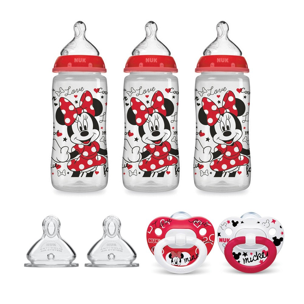 Image of NUK Minnie Mouse Bottle & Pacifier Newborn Set