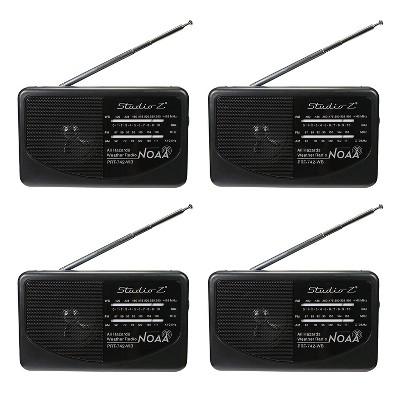 Studio Z PRT-742 AM/FM/WB 3-Band Compact Portable World Radio Receiver, Black (4 Pack)