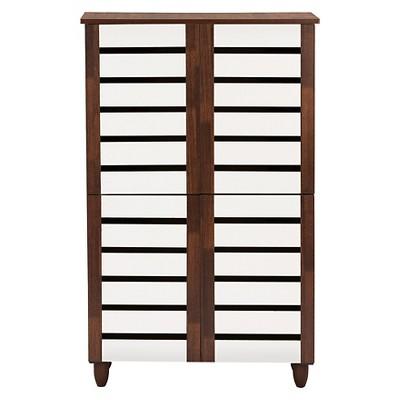 Gisela 2-tone Shoe Cabinet With 4 Door - Oak/White - Baxton Studio