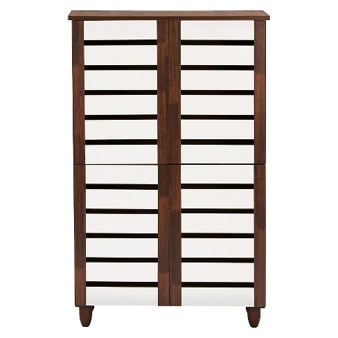 Gisela 2-tone Shoe Cabinet With 4 Door - Oak/White - Baxton Studio - image 1 of 4