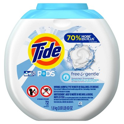 Tide Pods Free & Gentle Laundry Detergent Pacs 72ct