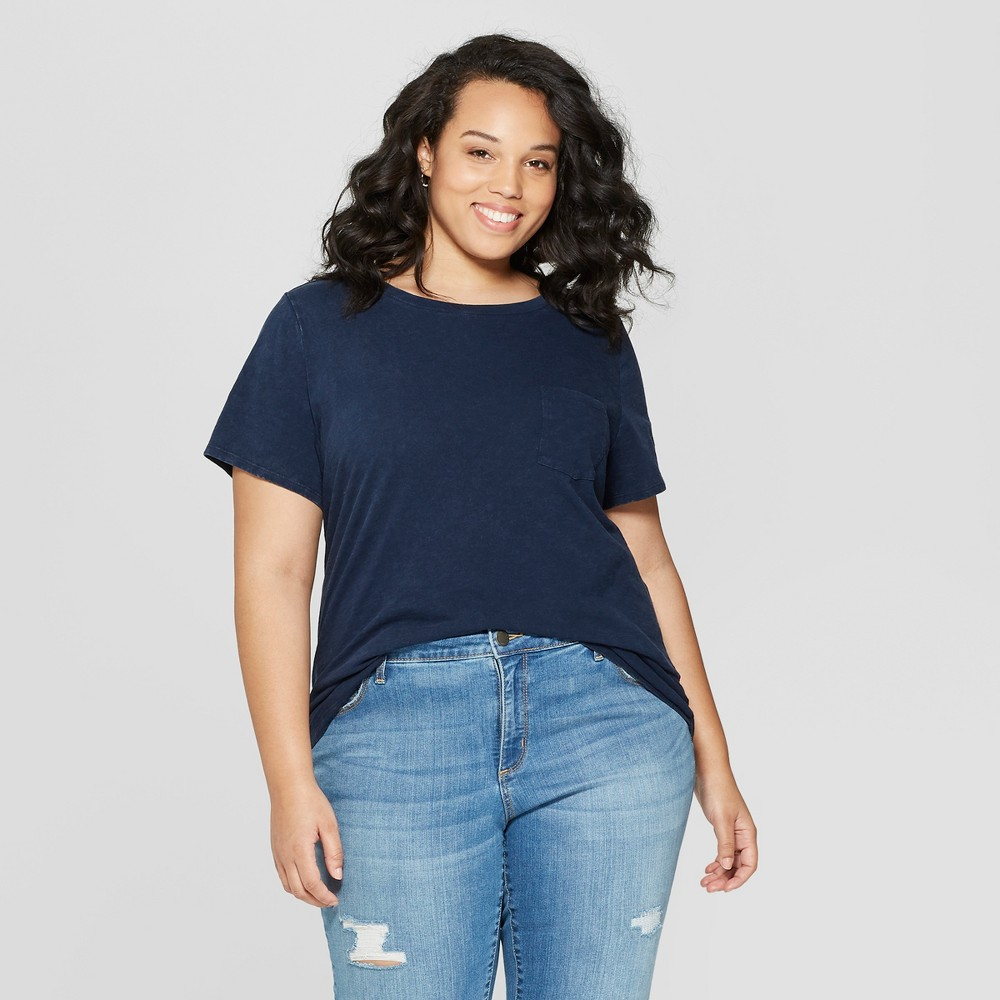Women's Plus Size Short Sleeve Crew Neck Meriwether Pocket T-Shirt - Universal Thread Navy (Blue) 3X