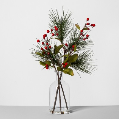 Pine Red Berry Glass Bottle Arrangement - Hearth & Hand™ with Magnolia