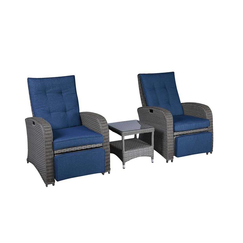 Image of Brianna Outdoor Patio Recliner with Table Navy Blue - Relax-A-Lounger