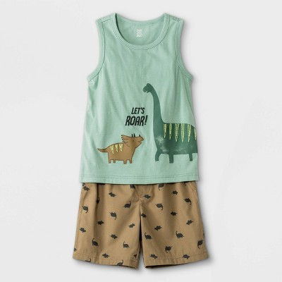 Toddler Boys' 2pc Dino Tank Top and Pull-On Shorts Set - Just One You® made by carter's Green/Brown
