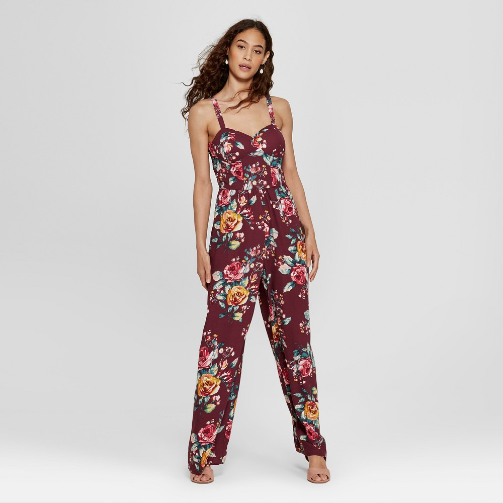 Women's Strappy Cup Floral Jumpsuit - Xhilaration Burgundy (Red) L