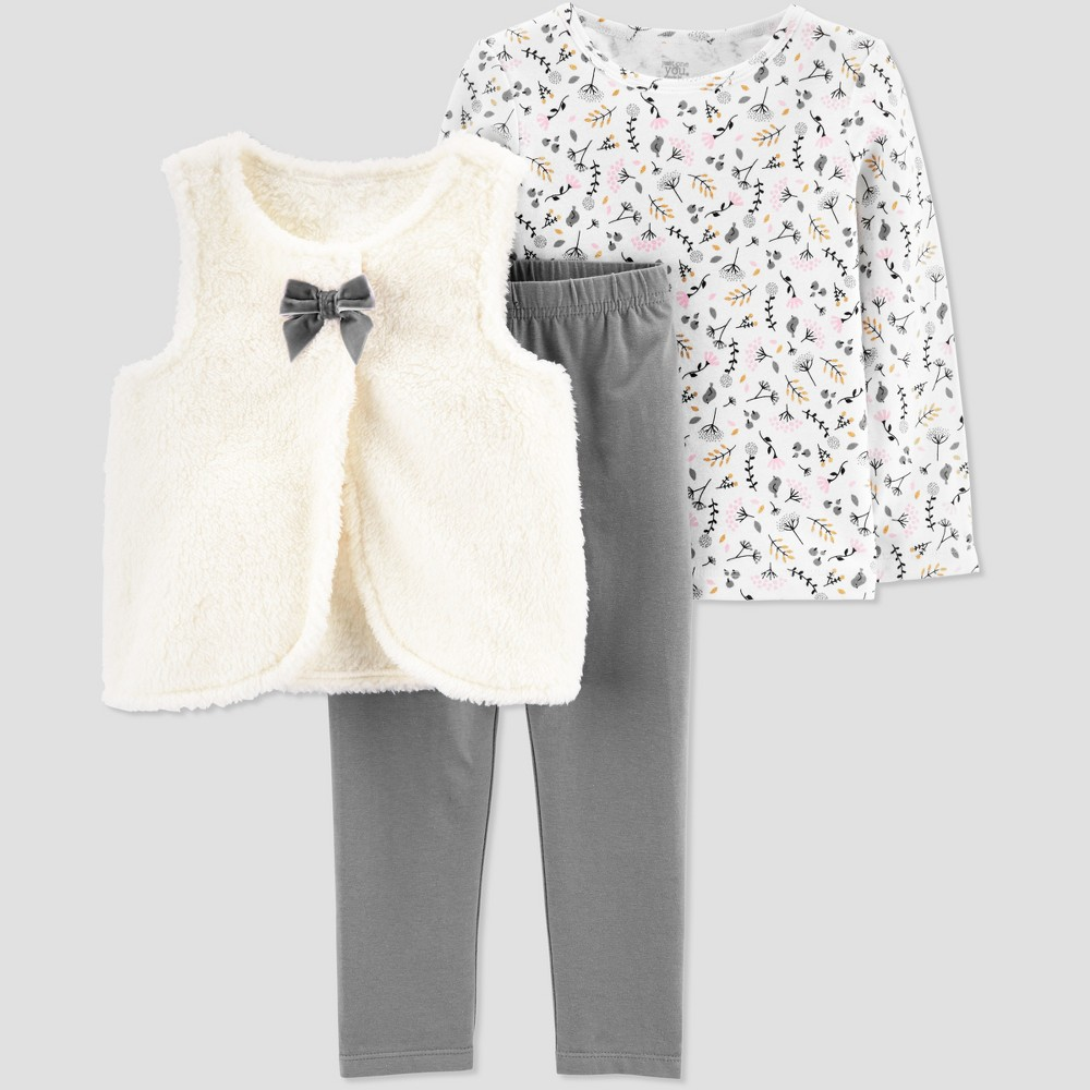 Toddler Girls' 3pc Floral Sherpa Vest Set - Just One You made by carter's White 3T