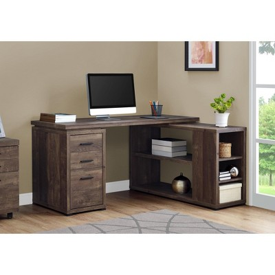 """Monarch Specialties Computer Desk L-Shaped Corner Desk with storage, Left or Right Facing, 60""""L, Brown Reclaimed Wood Look"""