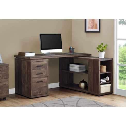 Monarch Specialties Computer Desk L Shaped Corner Desk With Storage Left Or Right Facing 60 L Brown Reclaimed Wood Look Target
