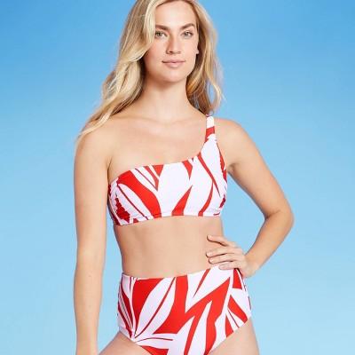 Women's One Shoulder Banana Tree Leaf Bikini Top - Kona Sol™ Red