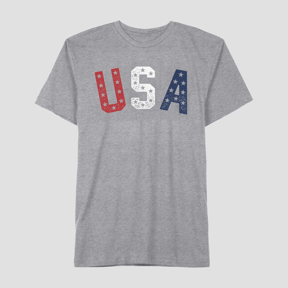 Well Worn Men's Short Sleeve Americana USA Flag T-Shirt - Citadel 2XL, Gray