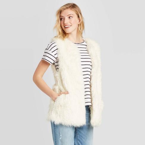 Women's Vest Jacket - Universal Thread™ Cream One Size - image 1 of 2