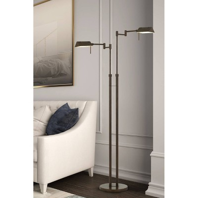 Clemson Metal Led Pharmacy Swing Arm Adjustable Floor Lamp Rust (Includes Energy Efficient Light Bulb)   Cal Lighting by Cal Lighting