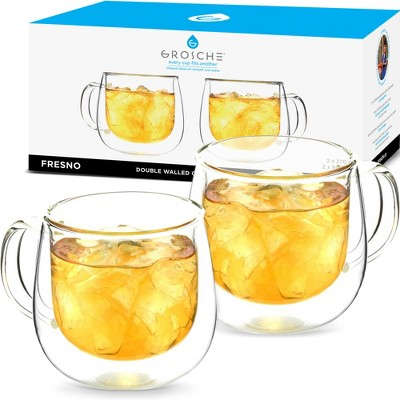 GROSCHE FRESNO Double Walled Glass Cups, Set of 2, 9.2 fl oz each