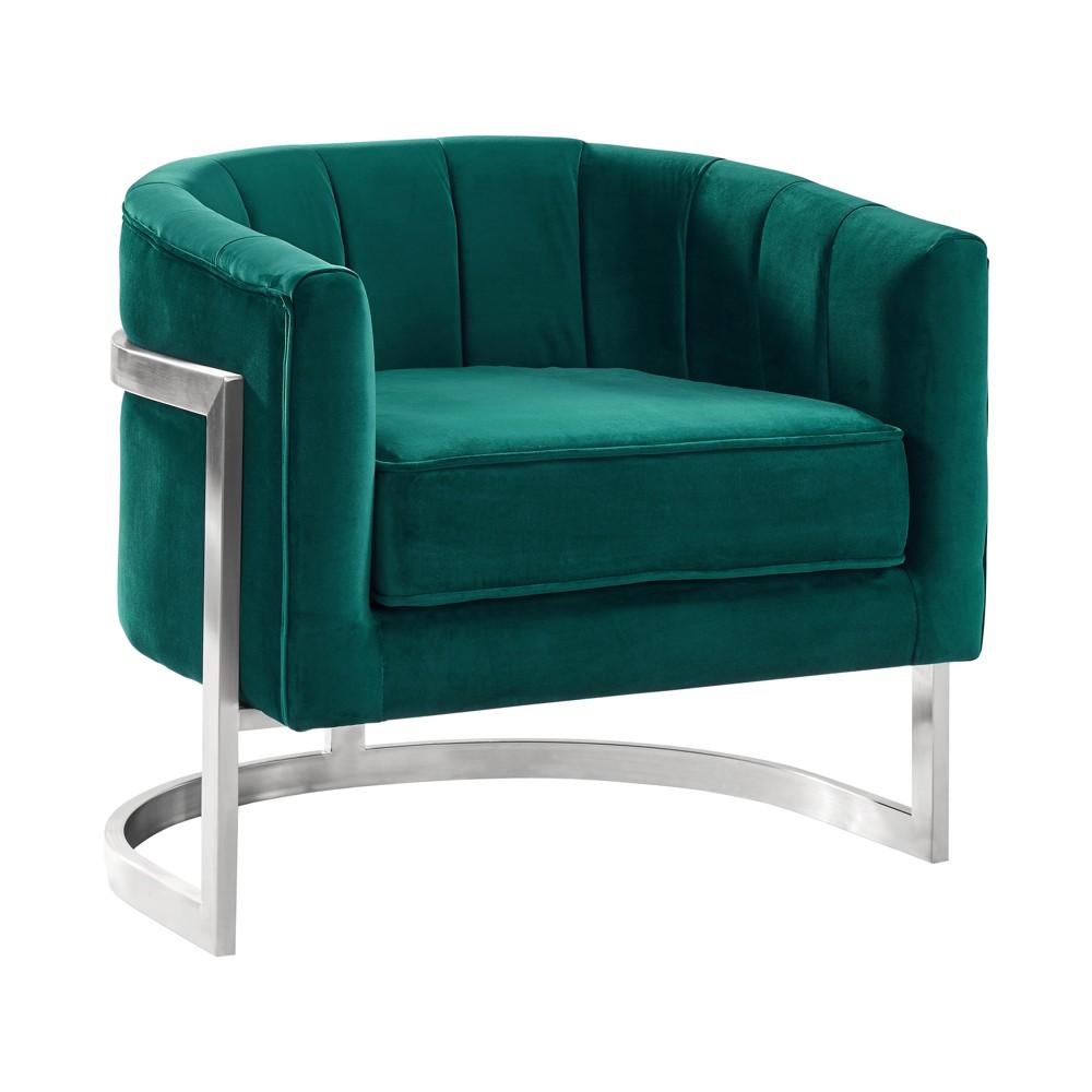 Armen Living Kamila Contemporary Accent Chair Velvet Green