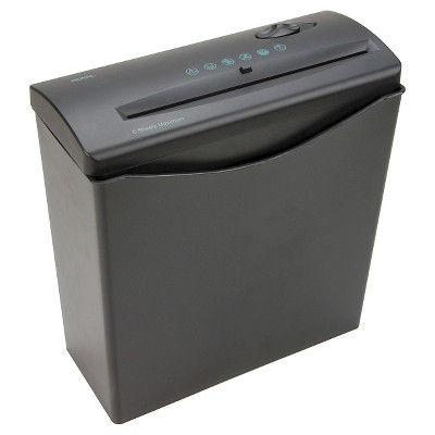 Royal® Paper Shredder with Wastebasket, 6ppm, 6 sheet Strip-cut - Black