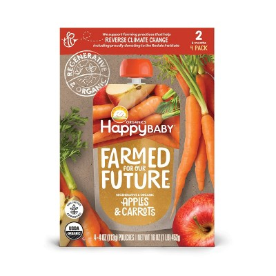 HappyBaby Farmed for Our Future 4pk Regenerative & Organic Apples & Carrots Baby Food Pouch - 16oz