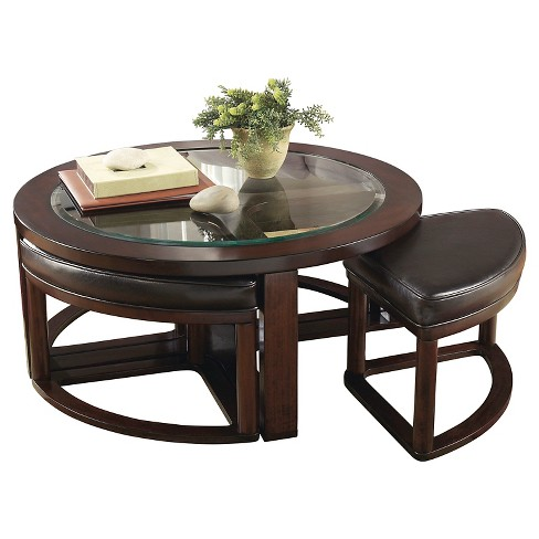 Marion Tail Table With 4 Stools Dark Brown Set Of 5 Signature Design By Ashley