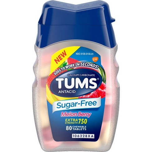 TUMS Extra Strength Antacid Sugar Free Melon Berry Chewable Tablet 80ct - image 1 of 4