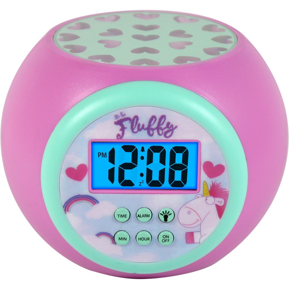 Despicable Me Fluffy Lcd Projecting Alarm Clock, Pink