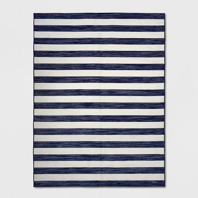 9' x 12' Outdoor Rug Worn Stripe Navy - Threshold™