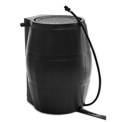 FCMP Outdoor RC4000-BLK 45-Gallon BPA Free Home Rain Water Storage Catcher Barrel, Black