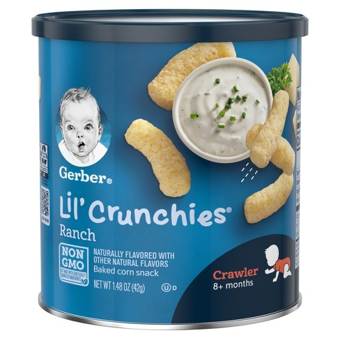Gerber Lil' Crunchies Baked Whole Grain Corn Snack, Ranch - 1.48oz - image 1 of 6