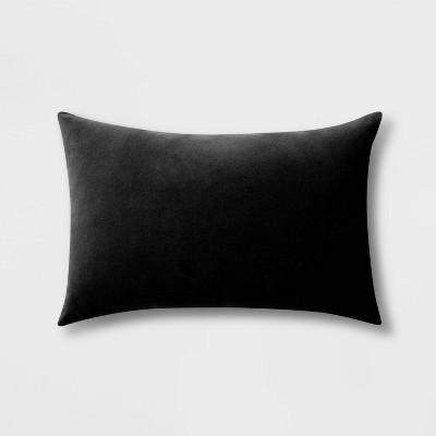 Velvet Lumbar Throw Pillow Black - Room Essentials™