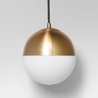 Exceptionnel Glass Globe Pendant Ceiling Light Brass   Project 62™