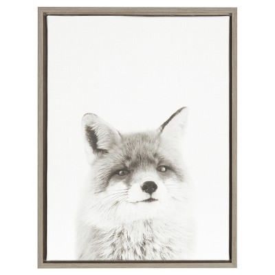 "Fox Framed Canvas Art Gray (24""x18"") - Uniek"