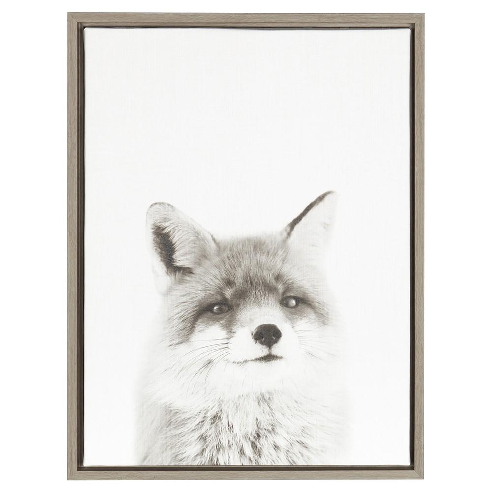 Fox Framed Canvas Art Gray (24
