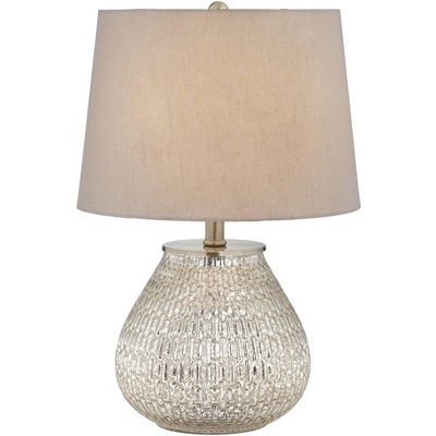 """360 Lighting Cottage Accent Table Lamp 19 1/2"""" High Mercury Glass Teardrop Gray Drum Shade for Bedroom Bedside Nightstand Office"""